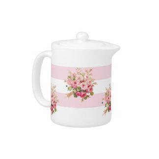 Jane's Rose Bouquet peony stripe small teapot