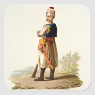 Janissary, from 'Costumes of the Various Nations', Square Sticker