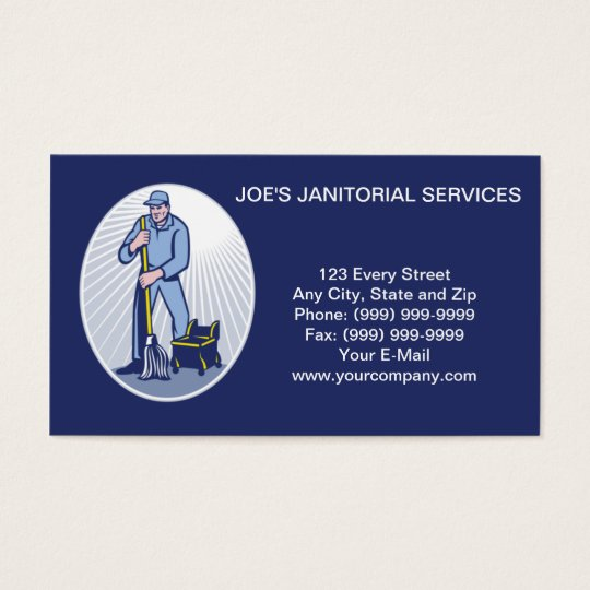 Janitor Cleaner Janitorial Services Business Card