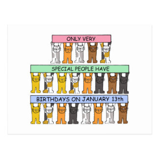 January 13th Birthday Cats Postcard