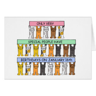 January 16th Birthdays celebrated by cats. Card