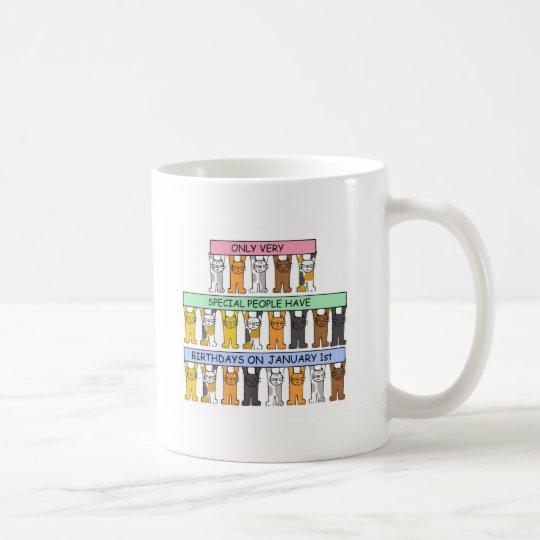 January 1st Birthdays celebrated by cats. Coffee Mug