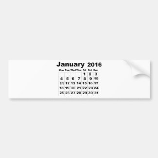 January 2016 Calendar Bumper Sticker