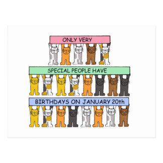 January 20th Birthdays celebrated by cats. Postcard
