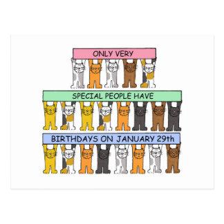 January 29th Birthday Cats Postcard