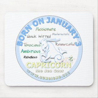 January 3rd Birthday - Capricorn Mousepad