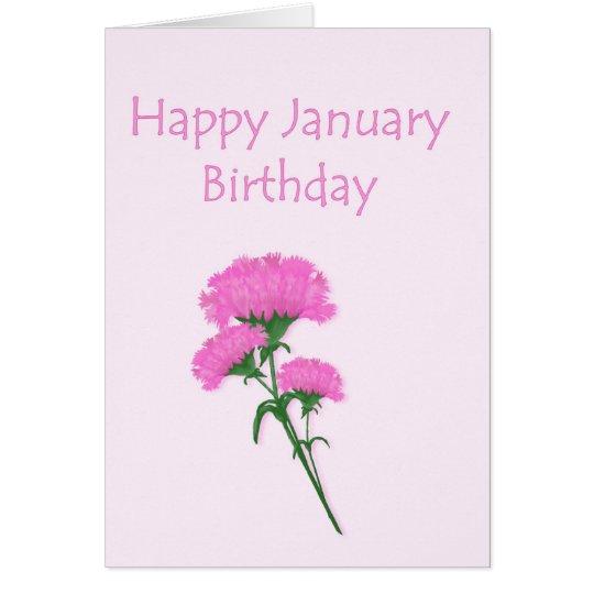 January Birthday Carnations Card