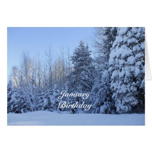 January Birthday-Winter Tree Scene Greeting Card