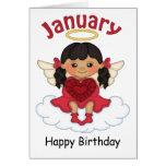 January Birthstone Angel Black Birthday Card