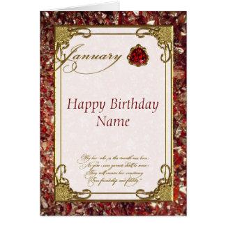 January Garnet Birthstone Birthday Card