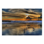 January Low Tide Sunset Poster