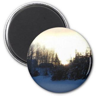 January Winter Morning 6 Cm Round Magnet