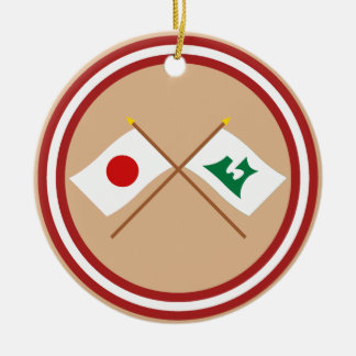 Japan and Aomori Crossed Flags Christmas Ornaments