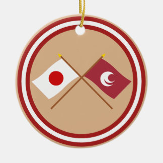 Japan and Hiroshima Crossed Flags Double-Sided Ceramic Round Christmas Ornament