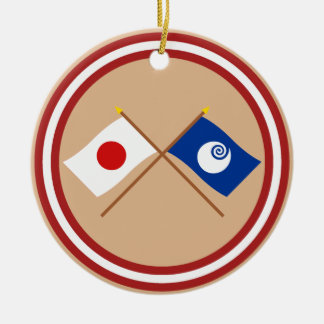 Japan and Ibaraki Crossed Flags Double-Sided Ceramic Round Christmas Ornament
