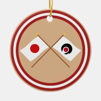 Japan and Kagoshima Crossed Flags Christmas Ornaments