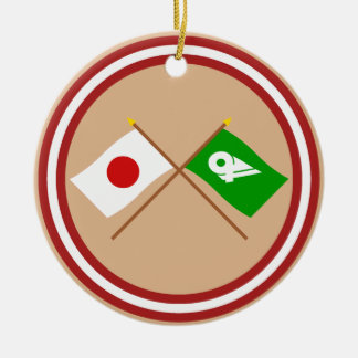 Japan and Mie Crossed Flags Double-Sided Ceramic Round Christmas Ornament