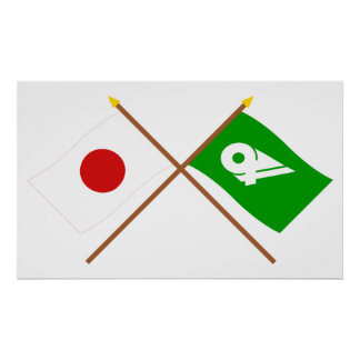Japan and Mie Crossed Flags Poster