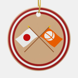 Japan and Nagano Crossed Flags Christmas Tree Ornaments