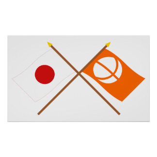 Japan and Nagano Crossed Flags Posters