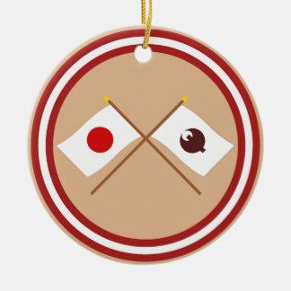 Japan and Nara Crossed Flags Christmas Tree Ornaments