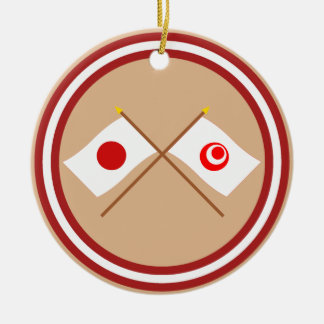 Japan and Okinawa Crossed Flags Ornaments