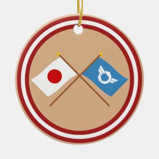 Japan and Shiga Crossed Flags Christmas Ornament