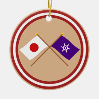 Japan and Tokyo Crossed Flags Double-Sided Ceramic Round Christmas Ornament