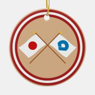 Japan and Wakayama Crossed Flags Christmas Ornament