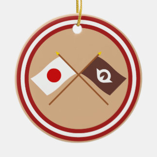 Japan and Yamaguchi Crossed Flags Double-Sided Ceramic Round Christmas Ornament