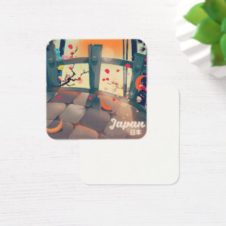 Japan Blossom vacation poster Japan Blossom Square Business Card