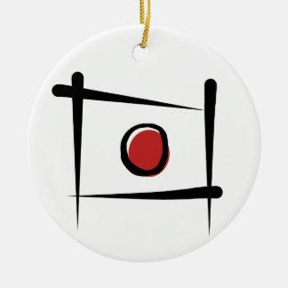 Japan Brush Flag Round Ceramic Decoration