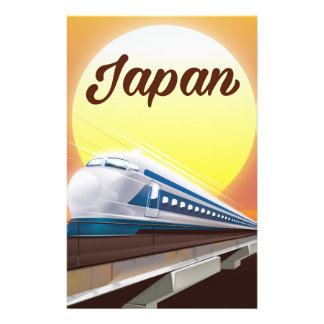 Japan Bullet Train travel poster Personalised Stationery