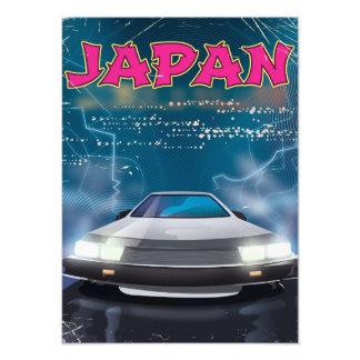 Japan car travel poster