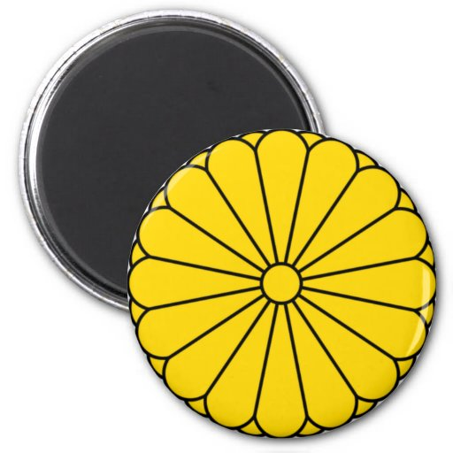 JAPAN FLAG - COAT OF ARMS - IMPERIAL SEAL 6 CM ROUND MAGNET