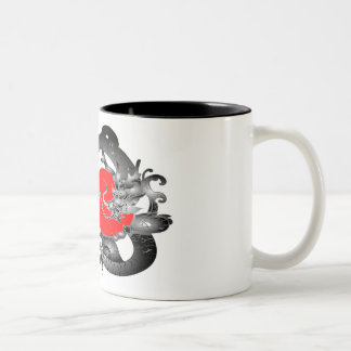 Japan Flag Fire Dragon Mugs