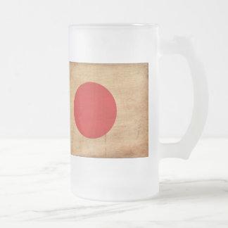 Japan Flag Frosted Glass Mug