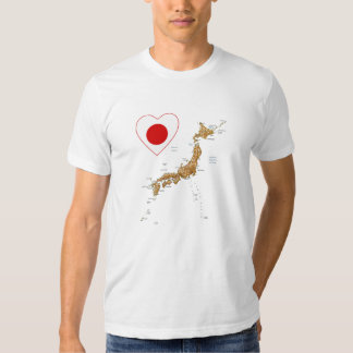 Japan Flag Heart and Map T-Shirt