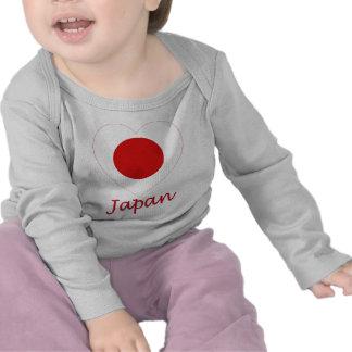 Japan Flag Heart Tshirts