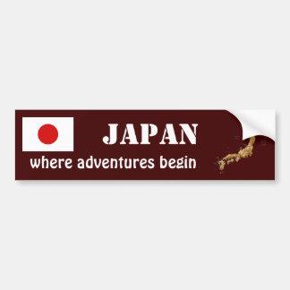 Japan Flag + Map Bumper Sticker