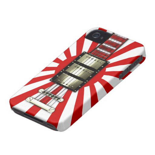 Japan Flag Retro Electric Guitar #1A iPhone 4 Case-Mate Cases