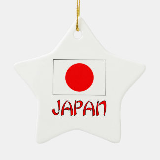 Japan Flag & Word Red Ceramic Star Decoration
