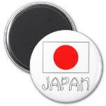 Japan Flag & Word White 6 Cm Round Magnet