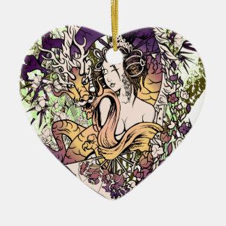 Japan Geisha Dragon Ceramic Heart Decoration