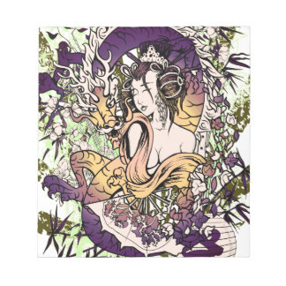 Japan Geisha Dragon Notepad
