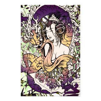 Japan Geisha Dragon Personalized Stationery