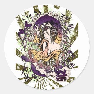Japan Geisha Dragon Round Sticker