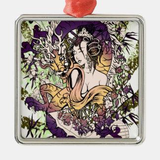 Japan Geisha Dragon Silver-Colored Square Decoration