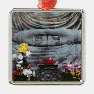 Japan, Kanagawa Pref., Kamakura. Floral Silver-Colored Square Decoration