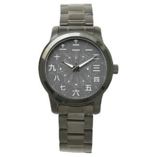 Japan kanji MANGA style [Black face 2] Wristwatch